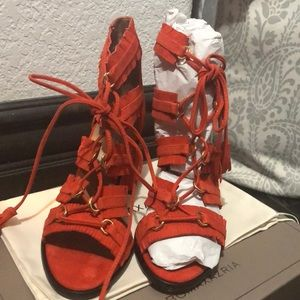 BCBG MAX ambrosia goat leather lace up block heel